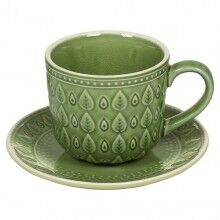Cup with Plate Natural (11 x 11 x 7 cm) Stoneware
