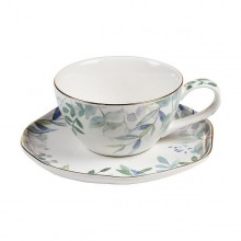 Cup with Plate Amazonia Porcelain (13 X 10 x 6 cm)