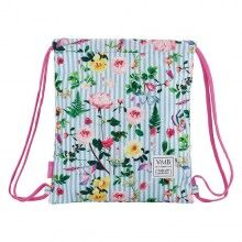 Backpack with Strings Garden White Sky blue