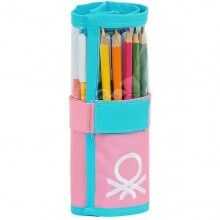 Pencil Case Benetton Color Block Roll-up Yellow Pink Turquoise (27 Pieces)