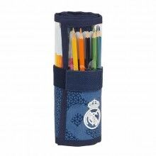 Pencil Case Real Madrid C.F. Roll-up Blue (27 Pieces)