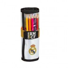 Pencil Case Real Madrid C.F. 19/20 Roll-up White Black (27 Pieces)