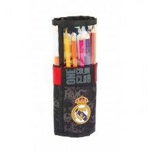 Pencil Case Real Madrid C.F. Roll-up Black (27 Pieces)