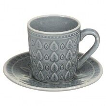 Cup with Plate Natural (15 x 15 x 10 cm) Stoneware