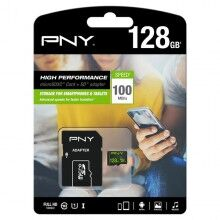 Micro SD Memory Card with Adaptor PNY 100 MB/s Black