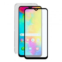 Tempered Glass Mobile Screen Protector + Mobile Case Samsung Galaxy M20 Contact