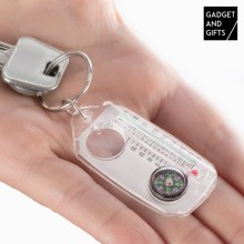 Gadget and Gifts Keyring with Compass, Magnifying Glass and Thermometer
