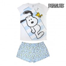Summer Pyjama Snoopy Adult Sky blue White