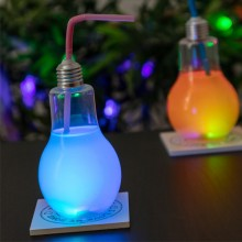 Light Bulb Drinking Glass with LED Light and Straw