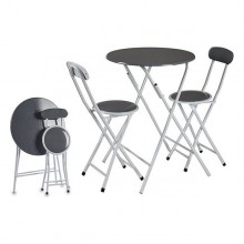 Table set with 2 chairs Grey Metal (60 x 71 x 60 cm)