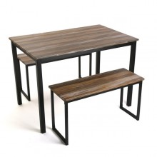 Table and bench set Brown Wood
